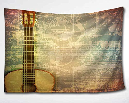 (HMWR Music Tapestry Wall Hanging Vintage Music Instrument Guitar wall fabric tapestry Throw Artwork Home Decoration for Living Room Bedroom Dorm 90x60 Inch)