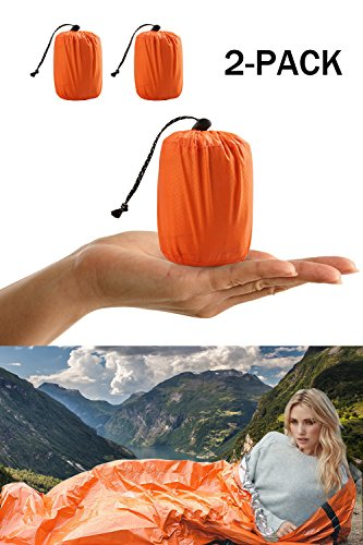 ACVCY 2 Pack Life Bivy Emergency Sleeping Bag Thermal Bivy – Use as Emergency Bivy Sack, Survival Sleeping Bag, Emergency Blanket, Survival Gear – Includes Nylon Sack