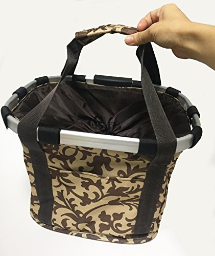 Bicycle Carriers Basket for Pet Dog Cat, 2-in-1 Bike Basket, Shoulder Carriers (Coffee)