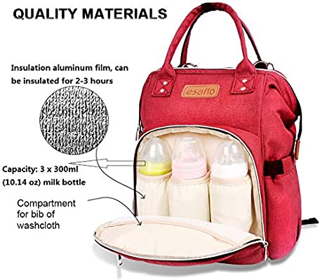 Red Waterproof and Stylish Bottle Bag Large Capacity Fashion Multifunction Travel Mommy Backpack Baby Bag with Stroller Hooks Urine Pad esafio Diaper Bag Backpack
