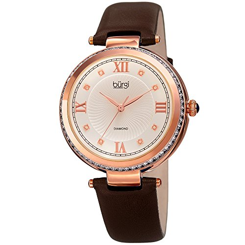 Burgi Leather Women's Watch - Baguette Crystal Studded Bezel - Guilloche Dial Genuine Diamond Markers - Brown Genuine Leather Skinny Strap - BUR202BR