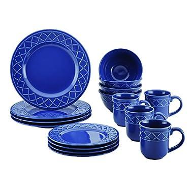 Paula Deen 16 Piece Savannah Trellis Stoneware Dinnerware Set, Cornflower Blue
