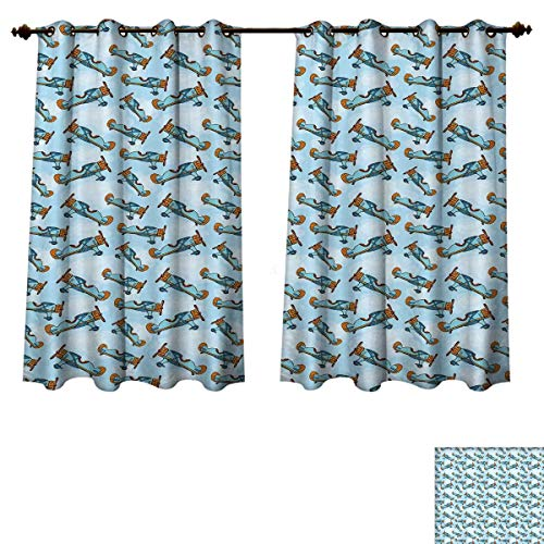 RuppertTextile Airplane Blackout Thermal Curtain Panel Cartoon Aircrafts Flying in The Blue Sky Vintage Models Kids Design Window Curtain Fabric Pale Blue Marigold Orange W55 x L39 inch