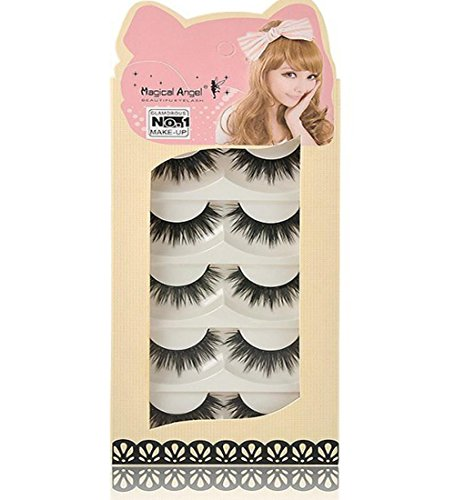 5 Pairs Long Cross False Eyelashes Makeup Natural 3D Fake Thick Black Eye Lashes Sandistore Soft Fake Lash (A)