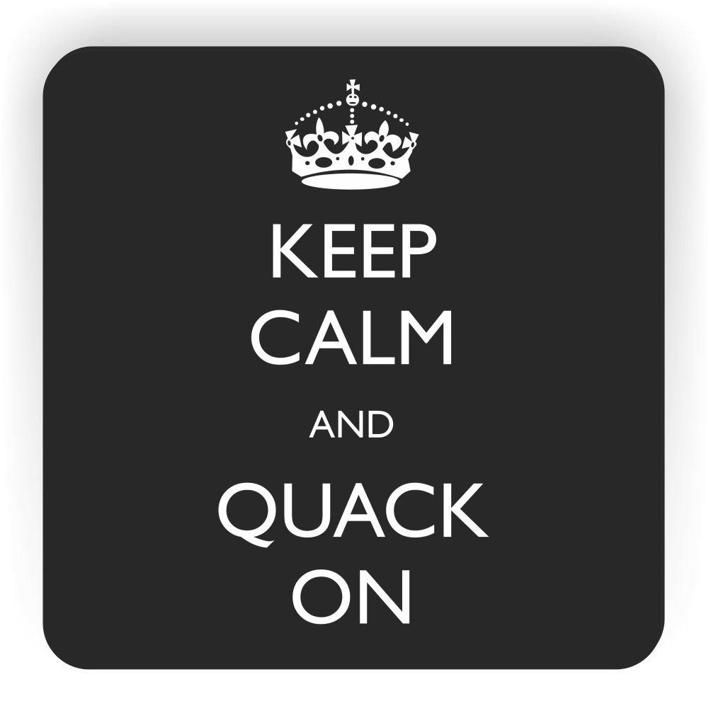 Rikki Knight Keep Calm and Quack On Design Square Fridge Magnet Black