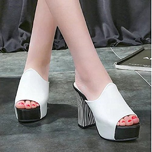 T Sandals Toe Heel Peep Fashion Sex for Pumps Sexy Platform Chunky White Pumps on Slip Shoes Dress Comfy Women JULY RwzrxR