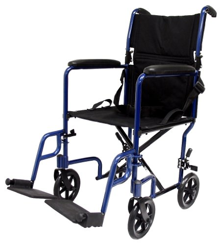 Karman Healthcare LT-2019-BL Folding Aluminum Transport Chair with Removable Footrests, Blue, 19 Inches Seat Width