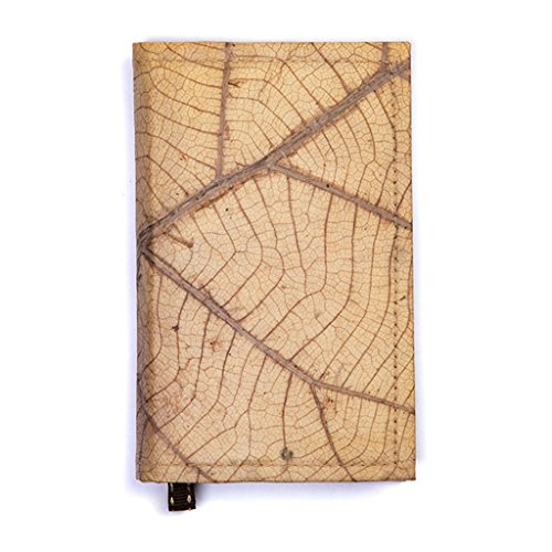 Leaf Leather Notebook Refillable Nature Journal with Page Marker - Handmade - Natural Leaf - Translucent Bullet Pen Space
