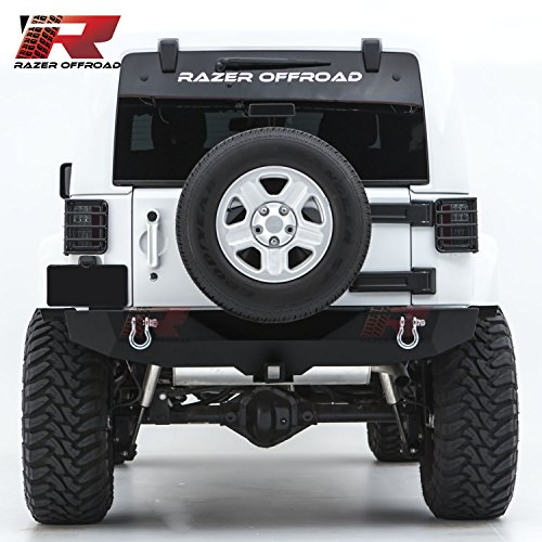 "Razer Auto Rock Crawler Rear Bumper With Two 4.75 Ton With D-Rings and 2 ""Hitch Receiver for 07-17 Jeep Wrangler JK"