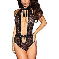 AMSKY Plus Size Sexy Lace Sleepwear Nightdress Lingerie Temptation Hollow Out Underwear Jumpsuit