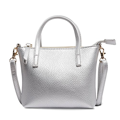 Girls Handbag Silver (Nico Louise Leather Mini Bags For Girls Shoulder bags Women Small Handbag Gift (Silver))