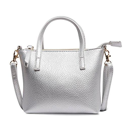 Handbag Girls Silver (Nico Louise Leather Mini Bags For Girls Shoulder bags Women Small Handbag Gift (Silver))