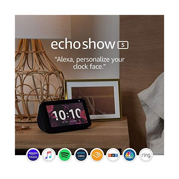 Echo Show 5 -- Smart display with Alexa – stay connected with video calling - Charcoal 1
