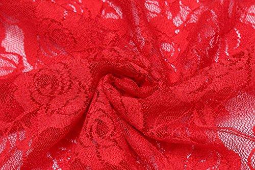 Lingerie G Babydoll Avec Rouge Nuisette Floral Nuit De Dentelle Femme Nœud Bretelles Chemise Aimado string Robe Papillon OqFwdOn