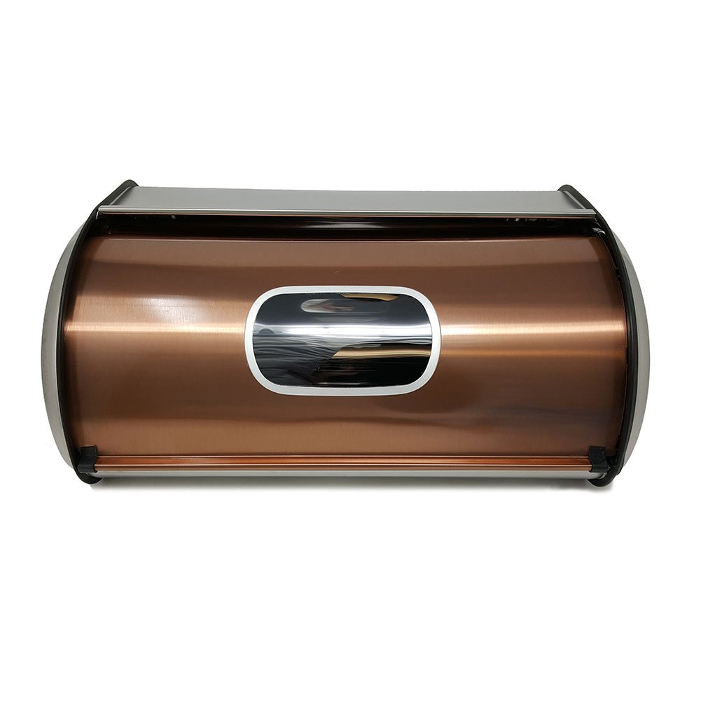 Modern Stylish Bread Box Copper Stainless Steel with Sliding Lid Large Bread Storage Bin with Visual Window - Keep Bread Fresh & Mold Free