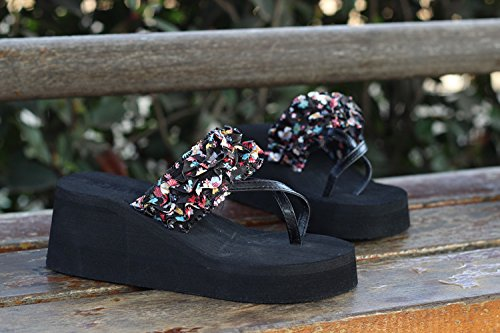 Gaorui Women Bohemia Flip Flops thong Sandals Shoe Platform Wedge heels Beach Flower Black 928t6sr
