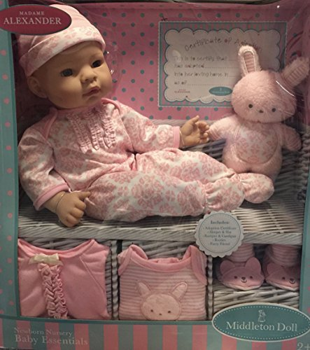 Alexander Doll Set (Madame Alexander Middleton 16 inch Newborn Nursery Baby Doll Pink Layette Set)