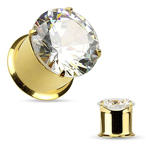 PAIR of Large Prong Set CZ Gem Gold Double Flare Tunnels/Plug (0g (8 mm)) ()