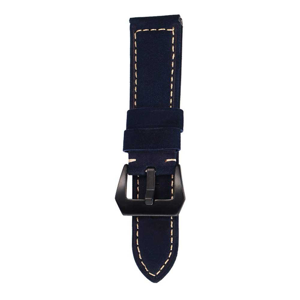 JDgoods Watch Band Replacement Leather Padded Buckle Wrist Band Strap 22 MM Brings New Life to Any Watch (Blue)