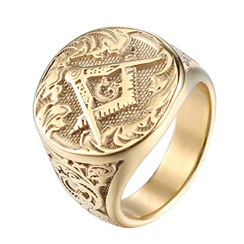 IFUAQZ Men's Masonic Freemason Gold Plated Stainless Steel Rings Classic Master Mason Signet Band Jewelry Size 13 (Masonic Signet Ring)