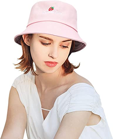 Docila Lovely Strawberry Bucket Hats For Women Fashion Embroidered Letter Fisherman Sun Cap Pink At Amazon Women S Clothing Store