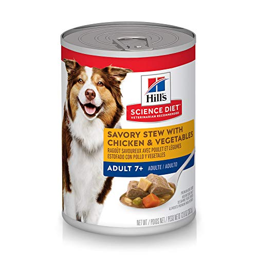 - Hill's Science Diet Wet Dog Food, Adult 7+ for Senior Dogs, Savory Stew with Chicken & Vegetables Recipe, 12.8 oz Cans, 12-pack