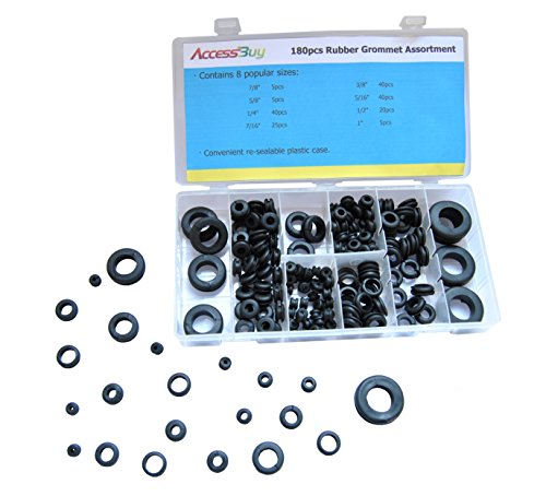 Accessbuy 180Pcs Round Rubber Grommet Assortment Kit Automative for Plugs Cables Wires 8 sizes in see-thru organizer case with snap-close lid