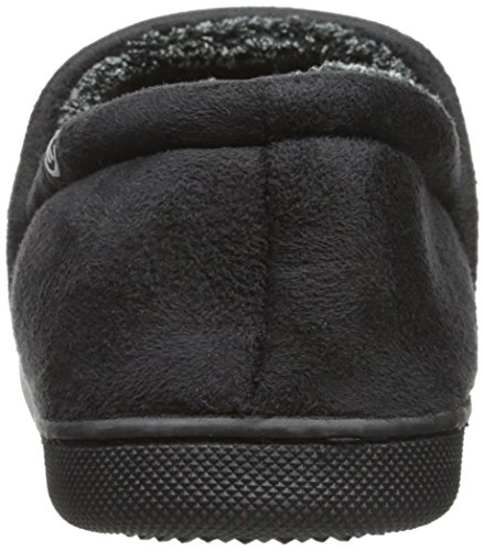 Isotoner Mens Micro En-linje Slip-on Tøffel Med Plysj Tweed Foring Svart