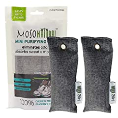 The 2 pack Mini Moso Natural Air Purifying Bags are an easy and convenient way to maintain fresh, dry and odorless shoes, gym bags, luggage, and sporting equipment. Made of just one incredibly powerful, natural ingredient, moso bamboo charcoa...