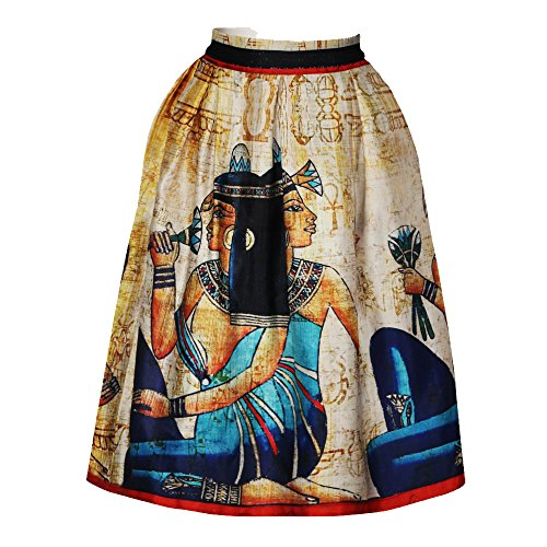 Mural Pattern - Women's Egyptian Mural Printing High Waisted Midi Party Skirt Vintage A-Line Pleated Skirts S