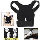 (US) Aptoco Adjustable Posture Corrector Magnetic Position Correction Braces Supports Back Belt Support Corset Back Lumbar Shoulder Corrector (Black)
