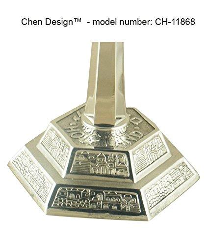 Silver Colored Jerusalem Seven Branch Temple Menorah Chen CH-11868SM Height: 5.3''/13.5cm