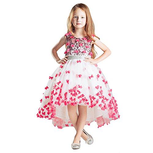 HSDJ Little Girls' Princess Tiered Straps Hi-lo Formal Pageant Dress 150 US (Girls Hi Lo Pageant Dresses)
