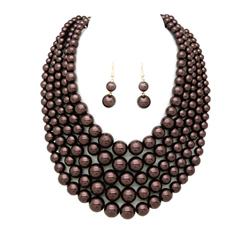 Faux Strand Earrings - Women's Simulated Faux Pearl Five Multi-Strand Statement Necklace and Earrings Set (Dark Brown)