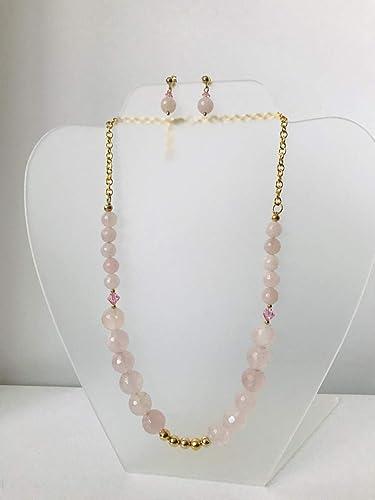 Peligro a nombre de Persona especial  Sofia Janette, Juego de collar y aretes en cuarzo rosa: Amazon.com.mx:  Handmade