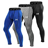 MEETYOO Men's Compression Pants, Cool Dry Long Base Layer Leggings, Sport Fitness Underwear Tights (3pcs-C, Medium)