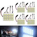 EverBrightt 5-Pack Cool White 5050 24SMD Led Panel Dome Light Lamp Auto Car Reading Interior Lamp DC 12V With T10 / BA9S / Festoon Adapters