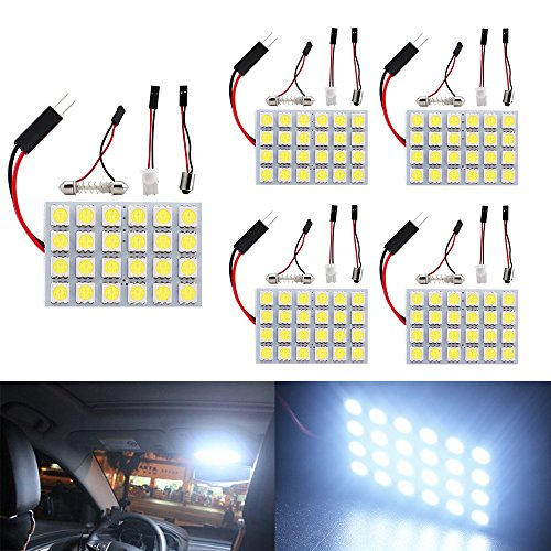 Car Dome Light Bulb - Everbrightt 5-Pack White 5050 24SMD Led Panel Dome Light Lamp Auto Car Reading Interior Lamp DC 12V With T10 / BA9S / Festoon Adapters
