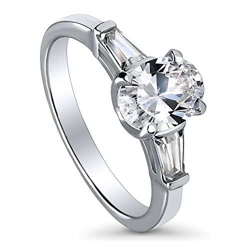 BERRICLE Rhodium Plated Sterling Silver Oval Cut Cubic Zirconia CZ 3-Stone Anniversary Promise Engagement Ring 1.71 CTW Size 9