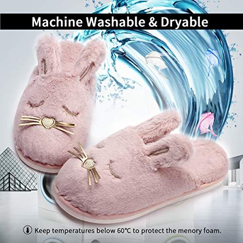 Bedroom Pink Cute Women Slippers Outdoor Animal Bunny Indoor Slippers Warm Foam Plush Memory Fuzzy TBqaOTxrwP