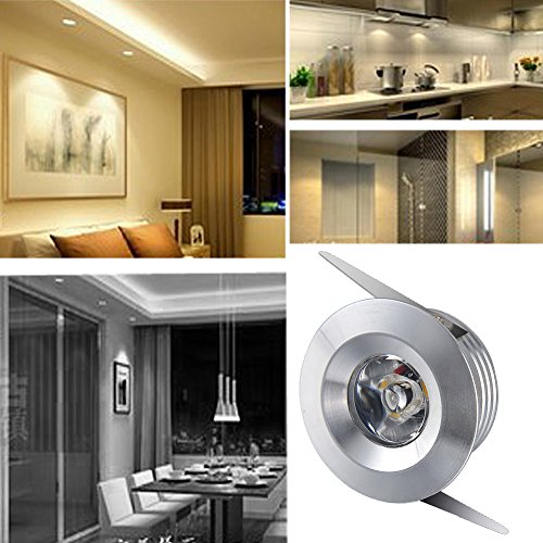 Elitlife 5 Pack Cree 3W Mini Recessed Ceiling Downlight Kit 6500K - Silver Aluminum Light Cover & Acrylic Mirror With LED Driver- Mini Spot Lamp Ceiling Light (Warm White) by Elitlife (Image #1)