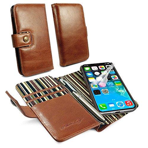 Alston Craig Magnetisch Schale RFID Vintage Ledertasche Brieftasche & Stift für Apple iPhone 8 - Braun