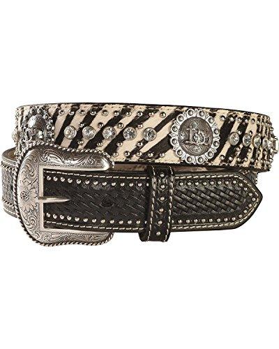 [M & F Western Men's Zebra Print Hair-On-Hide Cowboy Prayer Concho Belt Multi 36] (Hide Concho)
