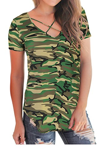 - V Neck Tops for Women Short Sleeve T Shirts Criss Cross Summer Tops Camo Plus Size 2XL