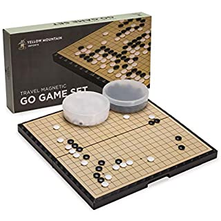 Yellow Mountain Imports Large Magnetic 19x19 Go Game Set Board (14.6-Inch) with Single Convex Stones - Portable and Travel Ready Set