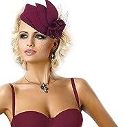 Wine Red Women Fascinator Pillbox Felt Wool Hat Formal Dress Flower Veil A131