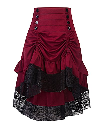 Sorrica Women's Steampunk Retro Gothic Vintage Ruffle High Low Gypsy Hippie Lace Party Skirt (XL, Wine Red) -