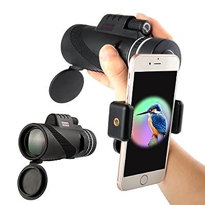 High Power Monocular Telescope Nitrogen Filled Waterproof Monocular Scope with Quick Smartphone Adaptor for Bird Watching Hunting Hiking Travelling Wildlife Secenery