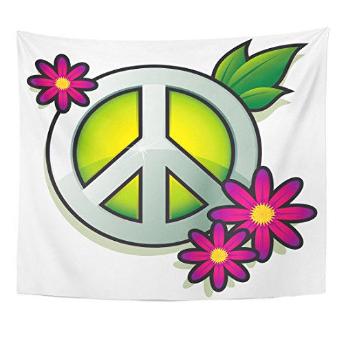 VaryHome Tapestry Green Hippy Peace Sign with Pink Flowers