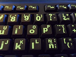 Spanish/English Keyboard Stickers with Fluorescent Inlays. Large Symbols Will Not Wear, Smudge or Fade. for All Laptop and Desktop Keyboards Also Free USB LED Light (White).